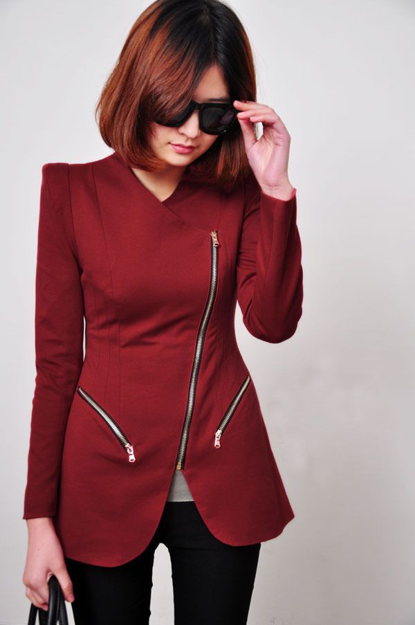 Women Turn-Down Collar Outerwear Oblique Zipper Slim Suit Blazer