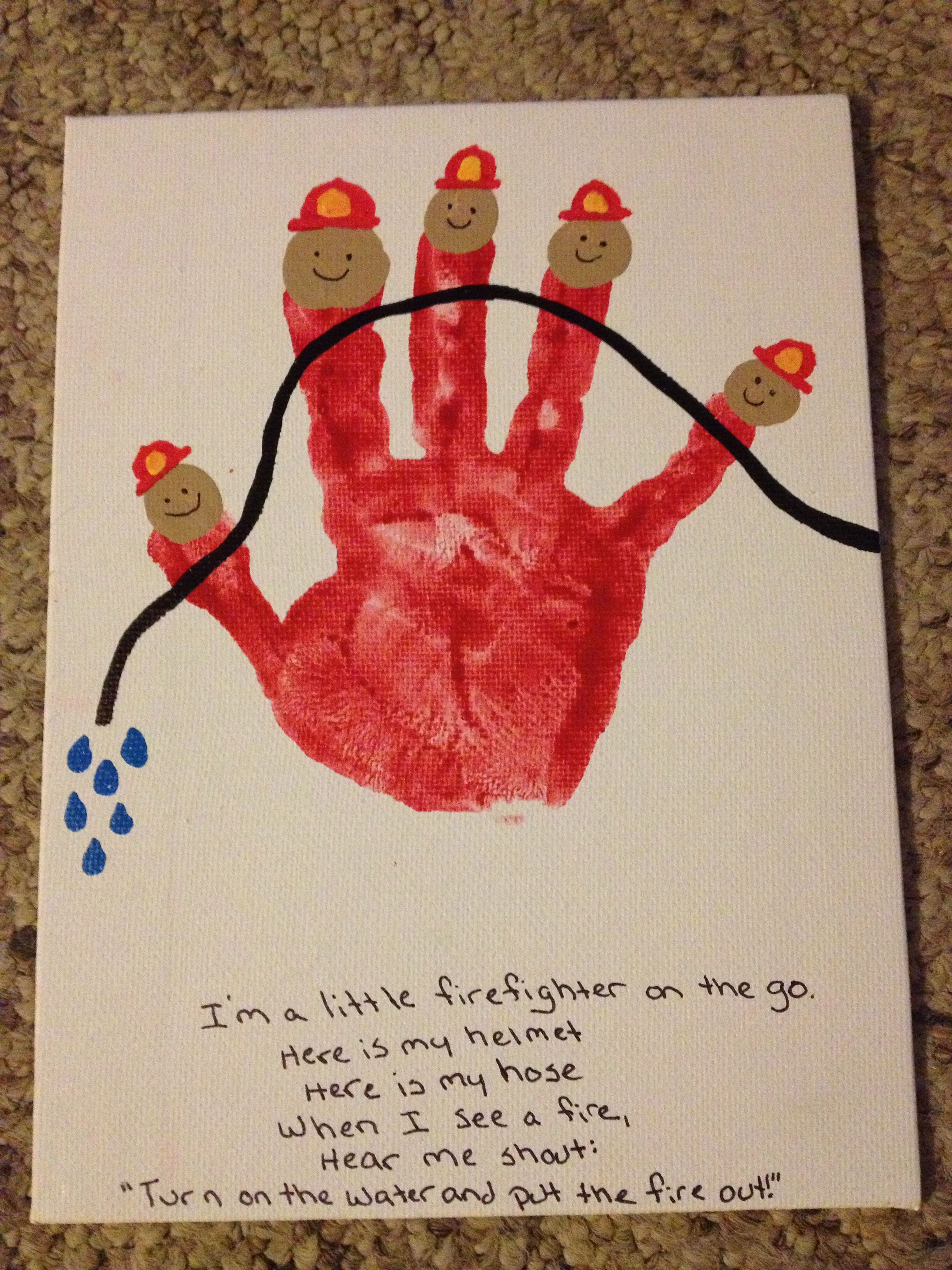 firefighter handprint for daddy my completed projects pinterest