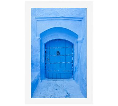 "Blue Door, Morocco by Jesse Leake, 28 x 42"", Wood Gallery, White, Mat"