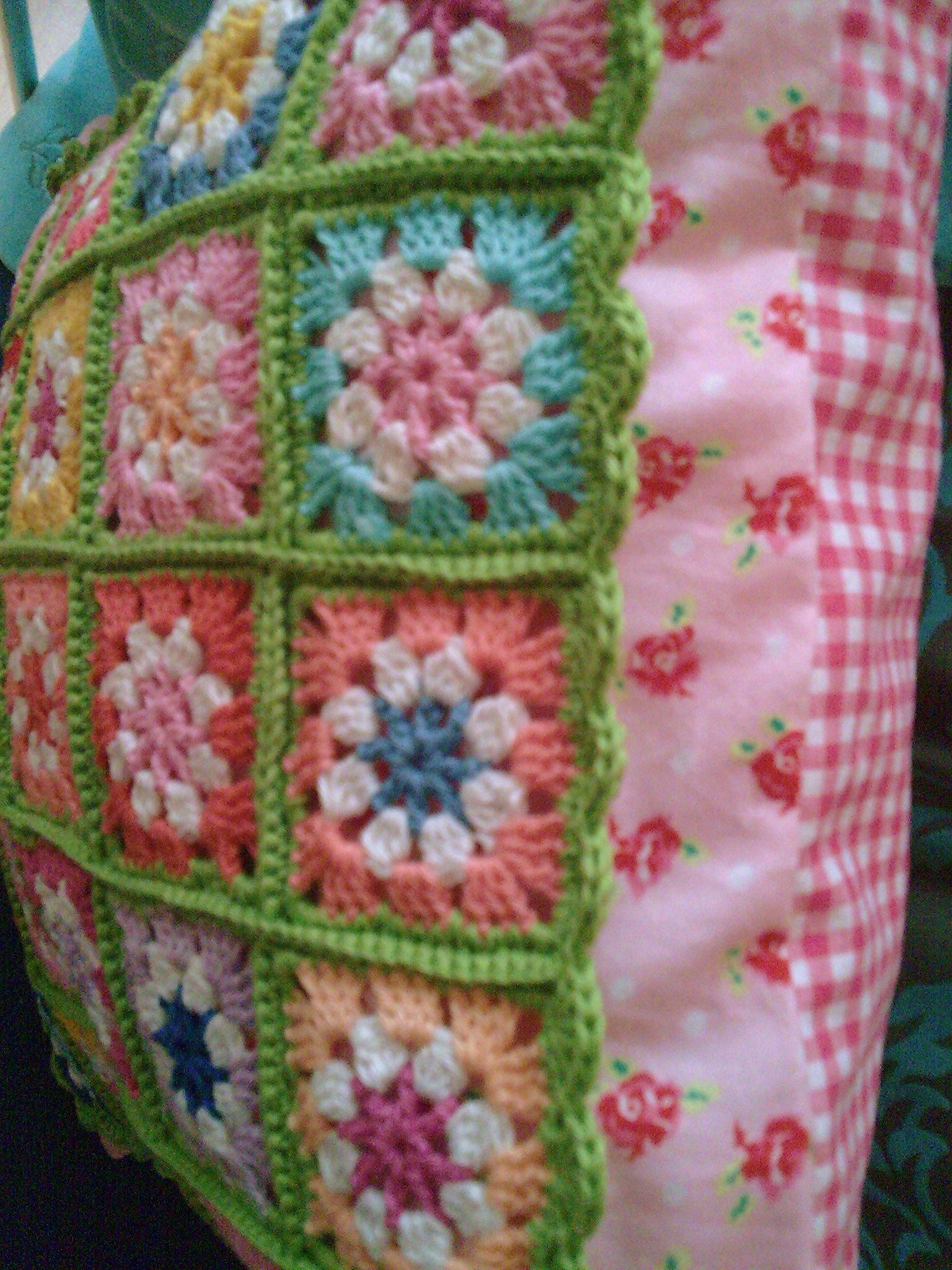 Crochet flower pillow.