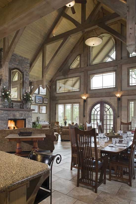 I Love How Open And Rustic This Living Doom, Kitchen And