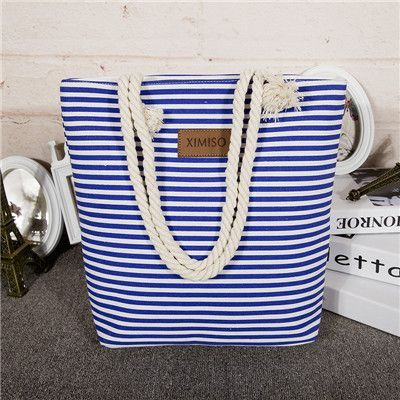 Stripe Black Handbag Canvas Woman Shopping Bag Women Cheap Hand Bags Beach Bag Canvas Tote Bags Shoulder Sac a Main