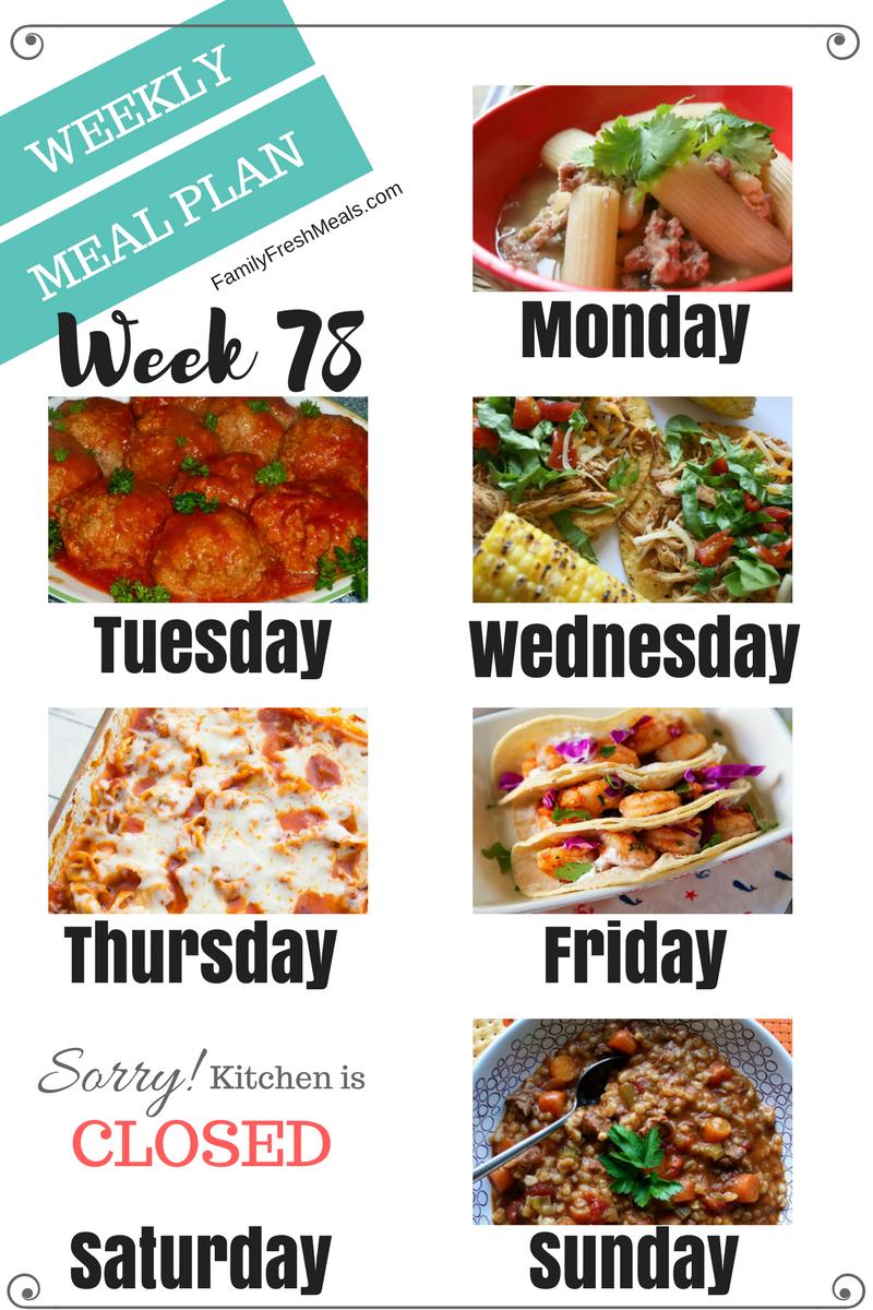Easy Weekly Meal Plan Week 78 #weeklymealprep