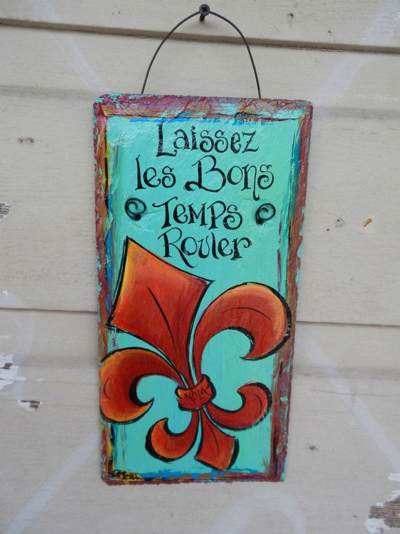 Fleur De Lis Hand Painted Slate Plaque Ready By