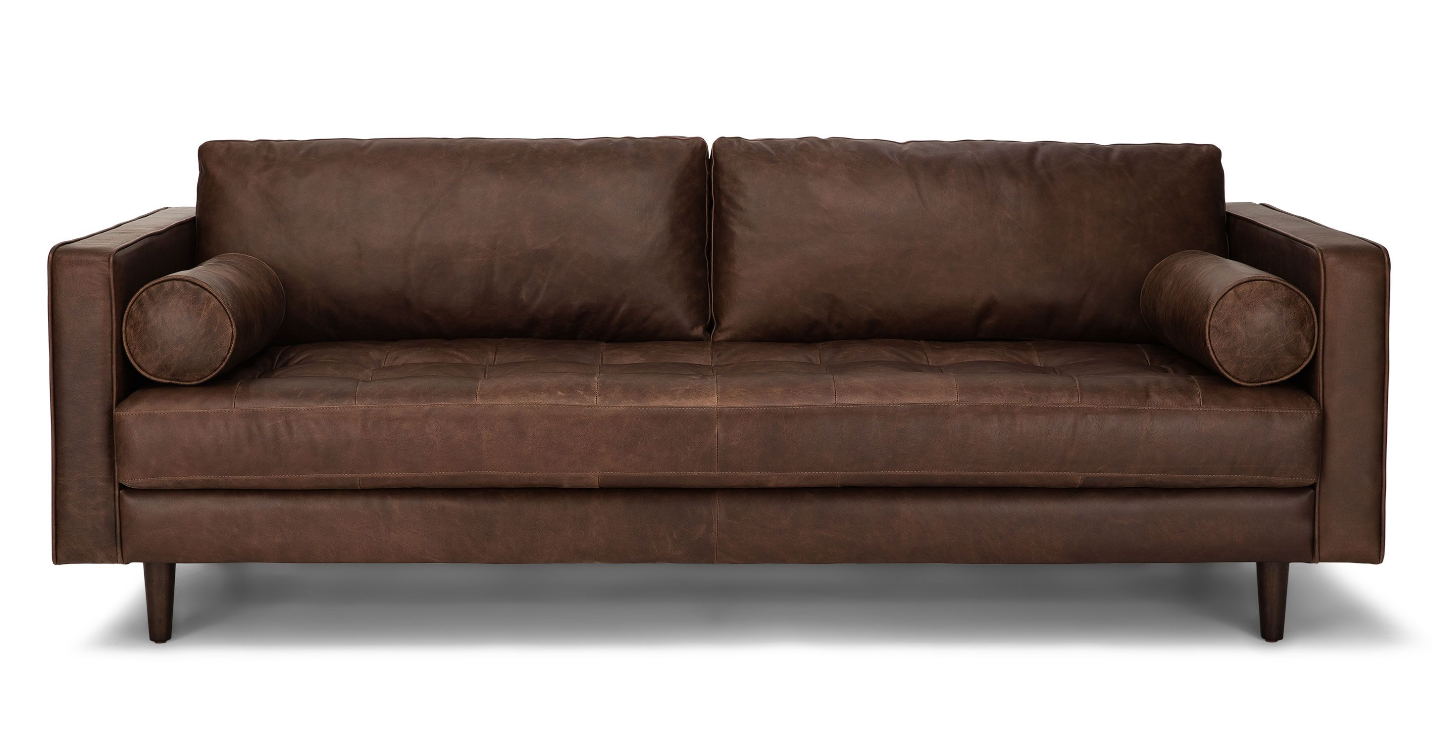 Chocolate brown tufted leather sofa article sven modern - Discount living room furniture near me ...
