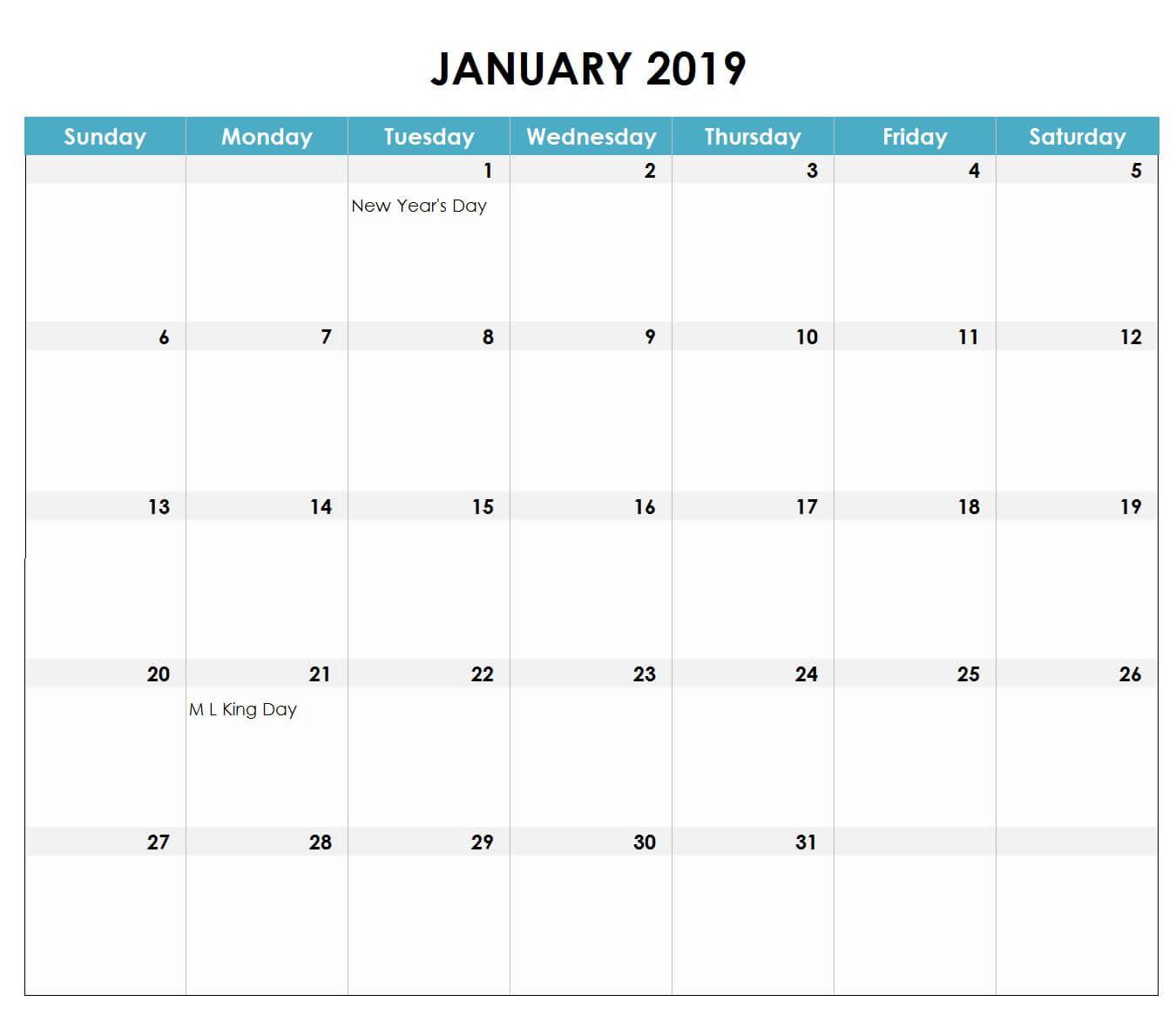 2019 Excel Calendar Excel Calendar Excel Calendar Template