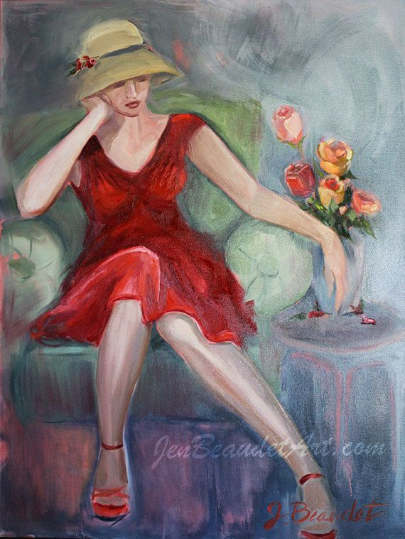 30x40 inch oil painting art woman in red dress 900 j - Oil painting ideas for living room ...