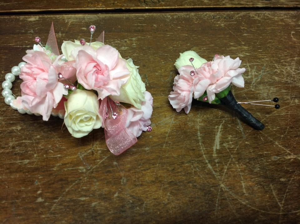 White Garden Rose Boutonniere matching pink miniature carnations and miniature white rose