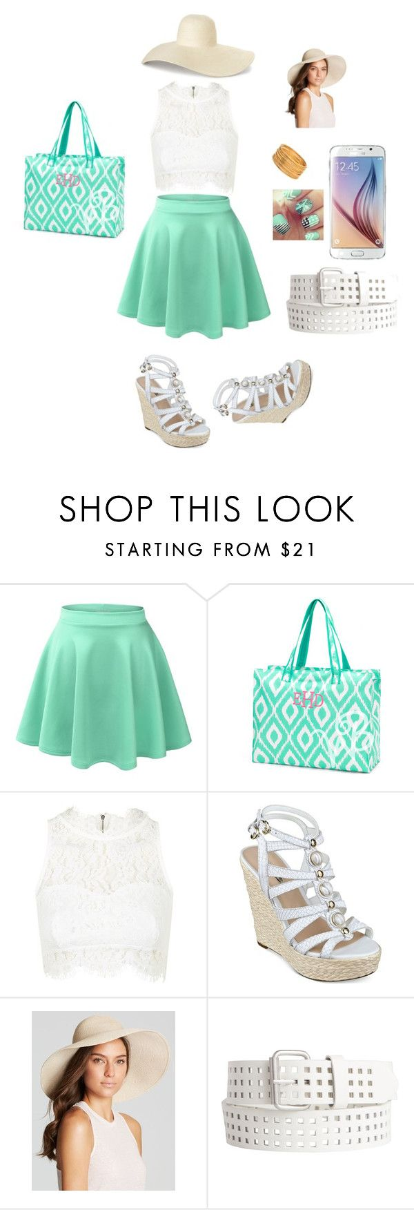 """PM 1"" by permoment ❤ liked on Polyvore featuring LE3NO, Topshop, GUESS, Eric Javits and Pieces"