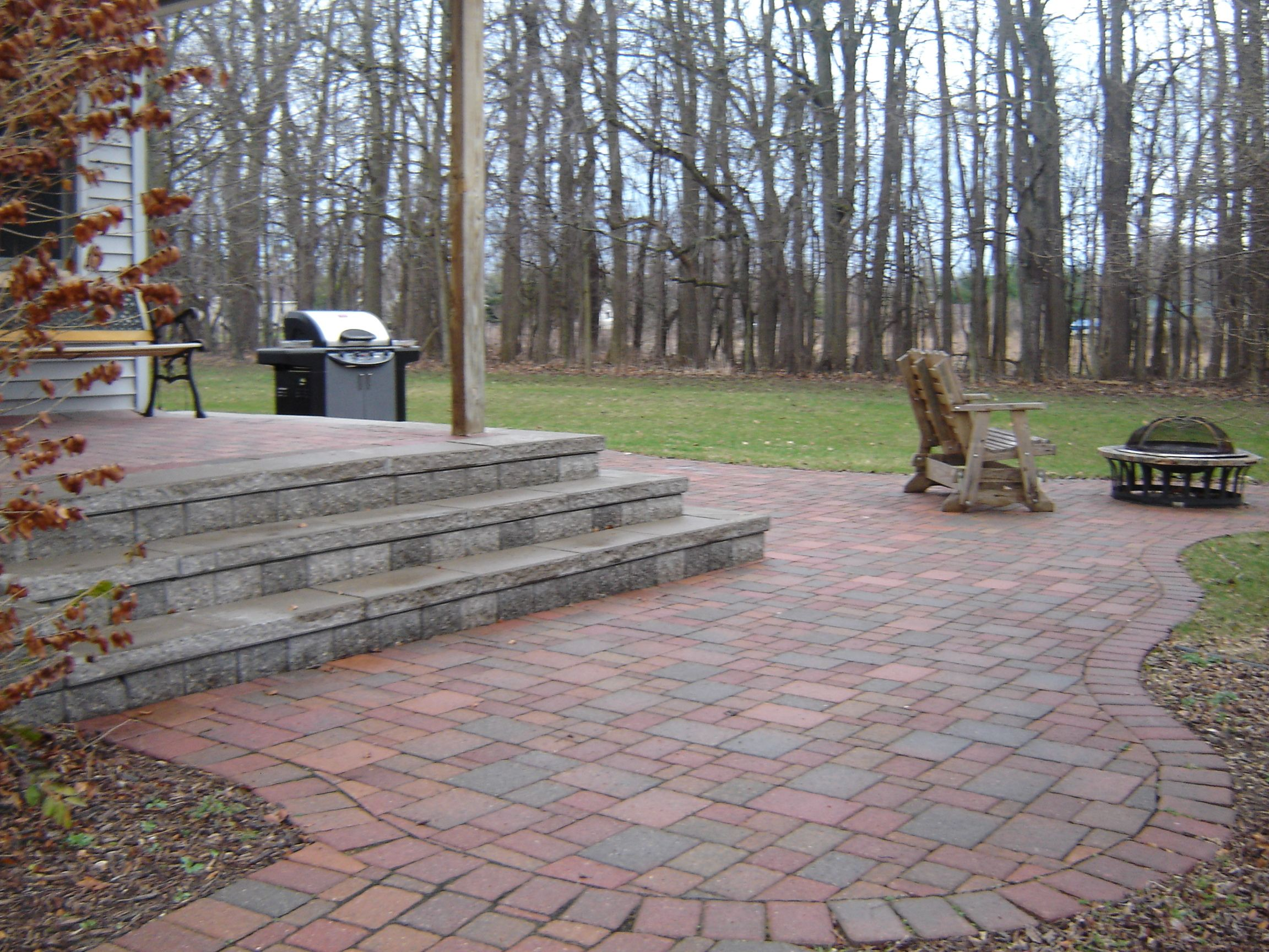 Brick Paver Patio That Steps Up To A Raised Patio.