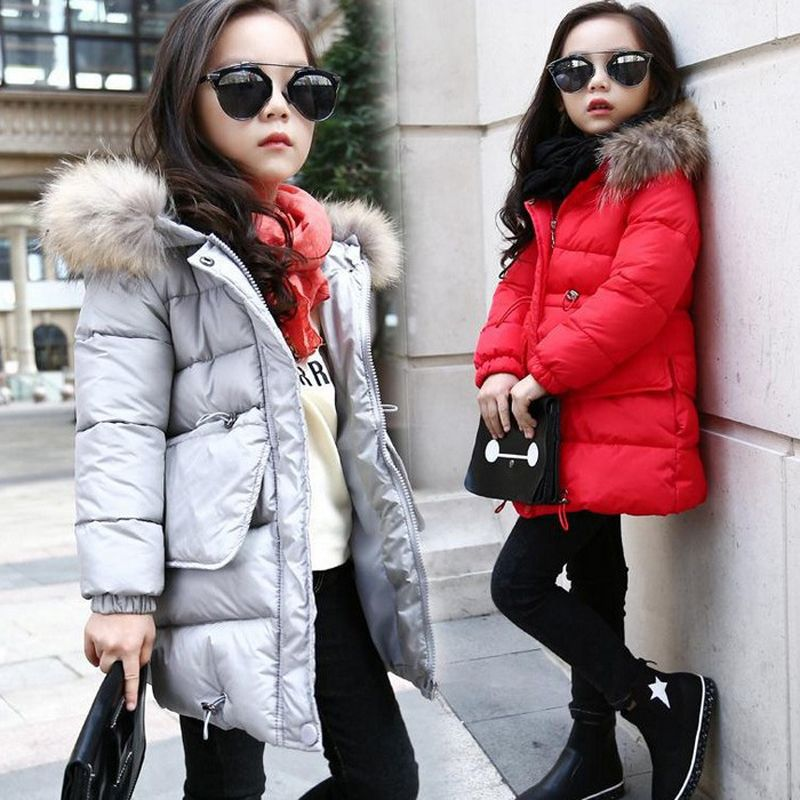 807f73413a8e Zoe Saldana Girl s Winter Coat 2017 New Fashion Children Solid Thick  Outerwear Fur Collar Hooded Long Padded Teenager Clothing