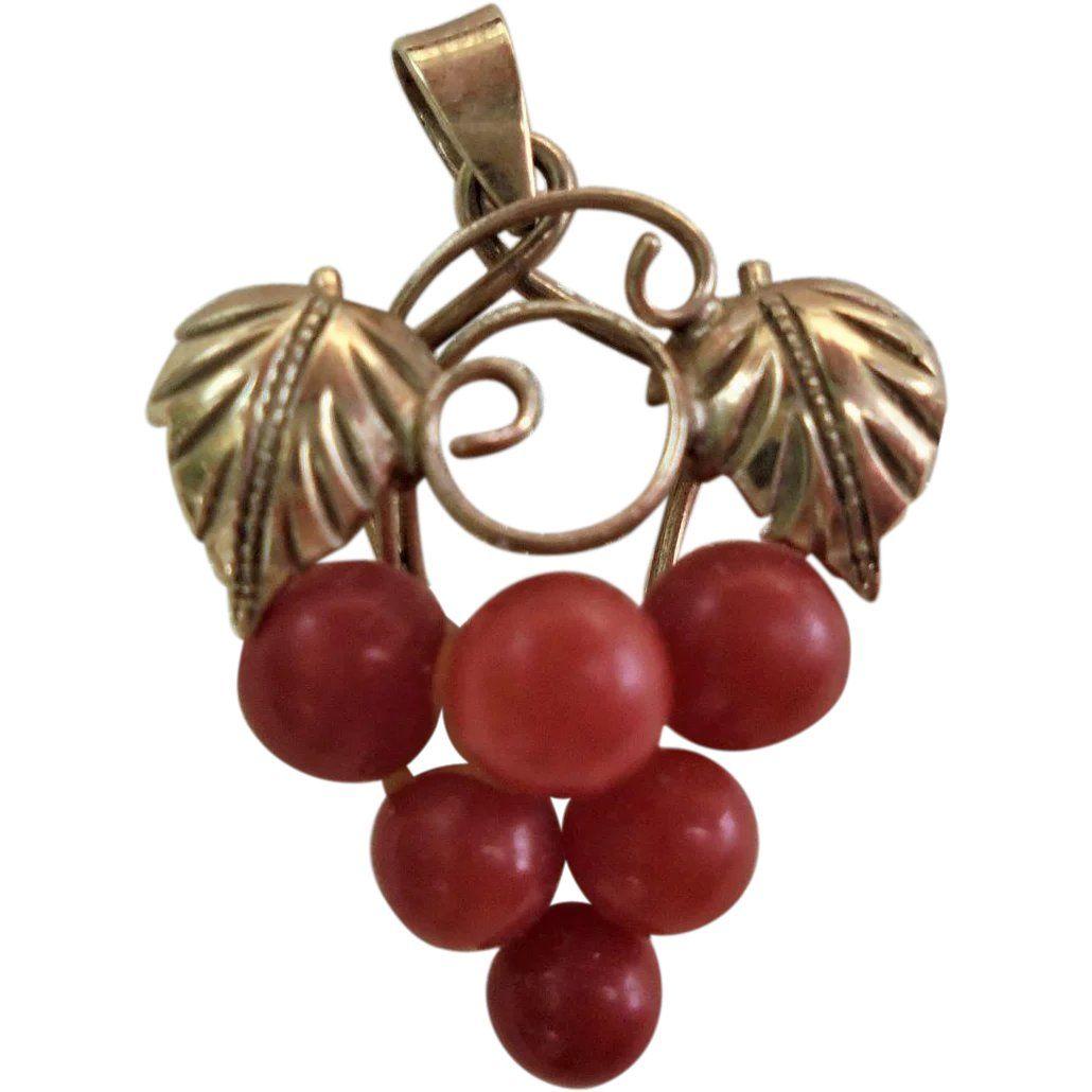 18k gold genuine coral bacchus grapes cluster pendant