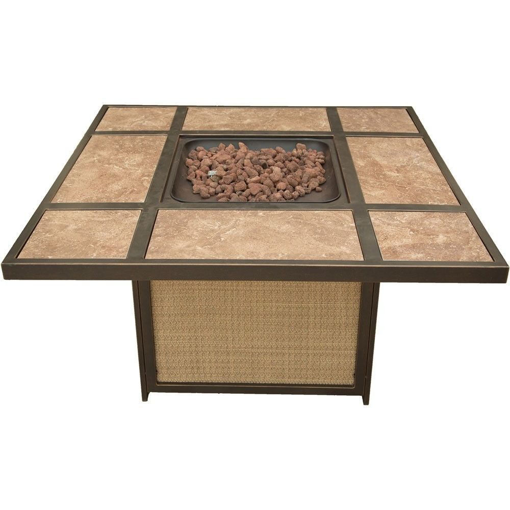 Hanover Traditions Tile Top Gas Fire Pit, Lava Rocks