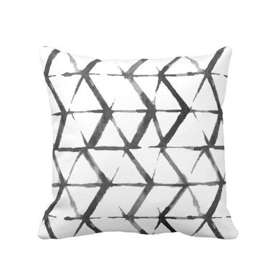 Shadow Geometric Print Throw Pillow Cover Black Gray