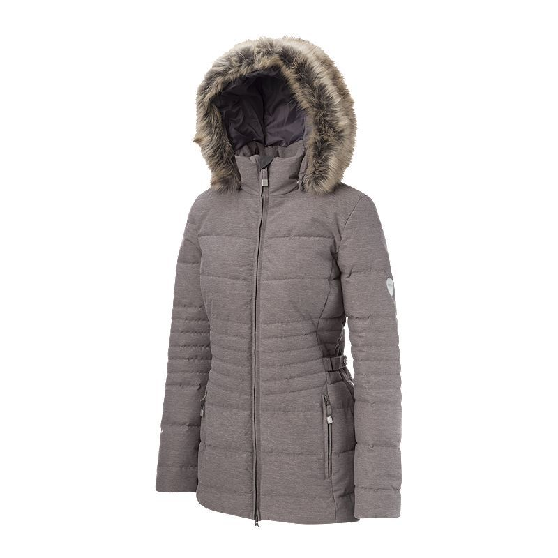 Roxy Ladies Woman/'s Black Fur Hooded Designer Soft Leather Duffle Jacket Coat