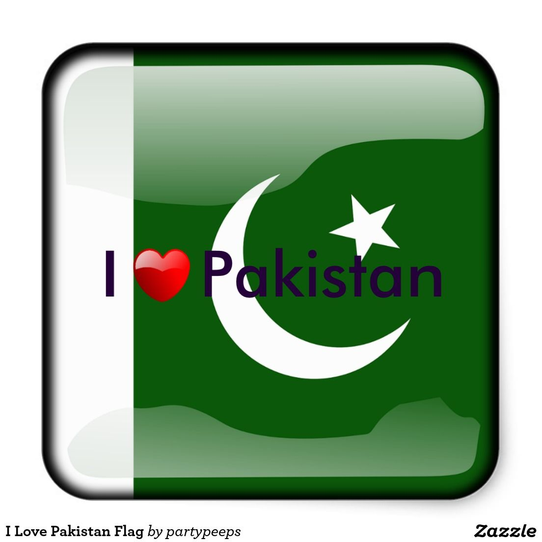 I love pakistan flag square sticker