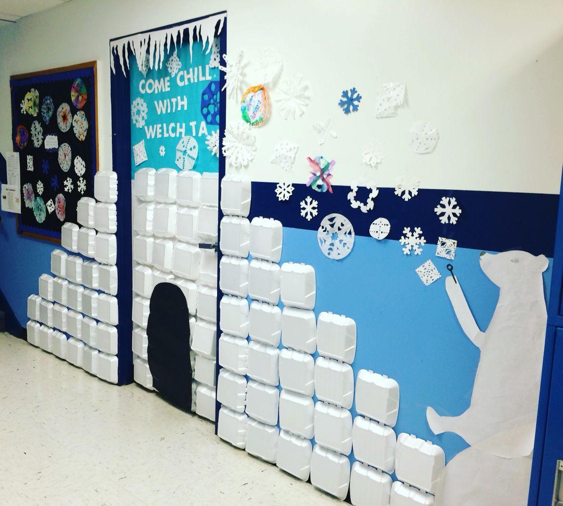 Igloo Classroom Door With Polar Bear