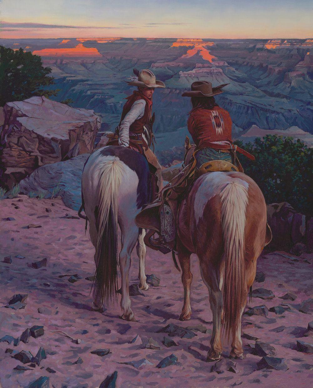 """(SOLD) """"Secret Talk at Sunset"""" 30""""x24"""" Oil Western artwork"""