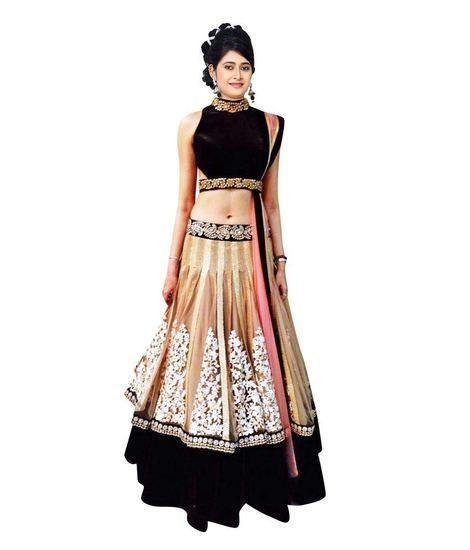054d57eb32 LadyIndia.com #Lahnga Choli, Latest Black-Beige Bollywood Lehenga-Choli,