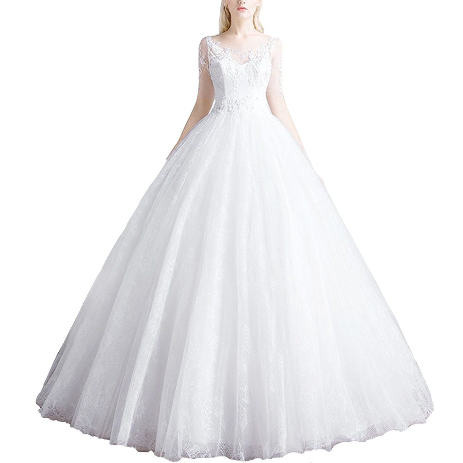 Bateau ball gown long length and lace wedding dresses for more