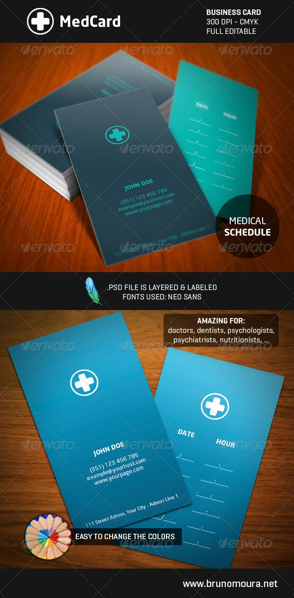 Medcard a medical style business card pinterest business cards medcard a medical style business card graphicriver medcard business card summary 2 reheart Images