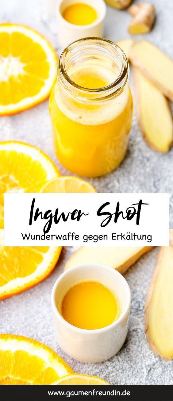 Ingwer Shot mit Orangen, Apfel und Zitrone - Das Rezept zum Selbermachen. Schnell gemacht, vollgepackt mit gesunden Zutaten und meine scharfe Wunderwaffe gegen Erkältung. Jeden Morgen ein Ingwer Shot und ihr bringt euer Immunsystem ordentlich in Schwung - Gaumenfreundin Foodblog #hausmittel