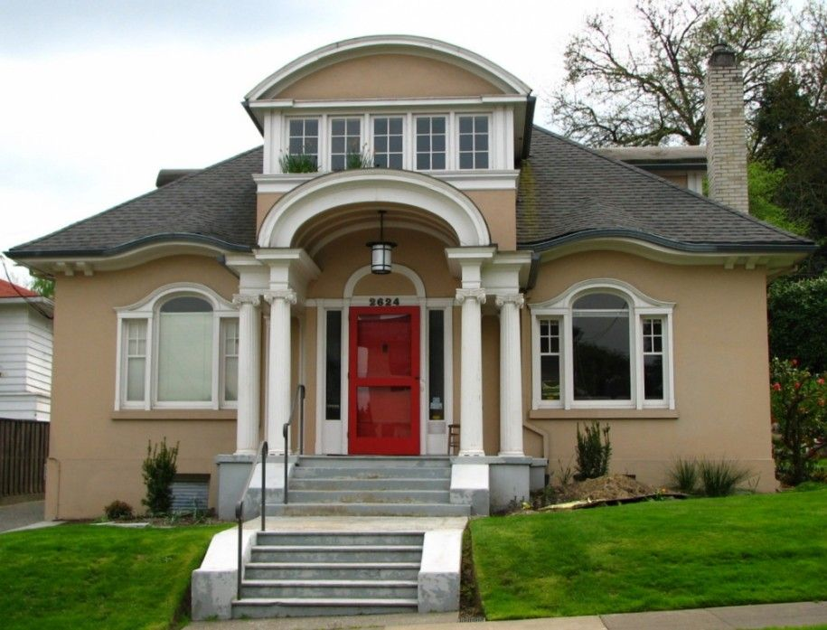 Simple Front Design Of House Classic Exterior With Brown Wall And Grey Door Steps Also Red