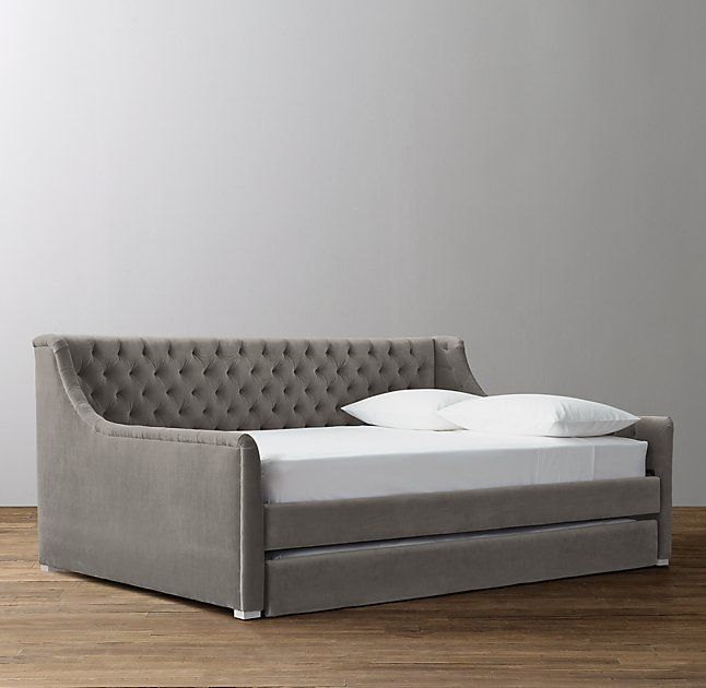 Devyn Tufted Velvet Daybed With Trundle - Frosted White The - Daybed Images