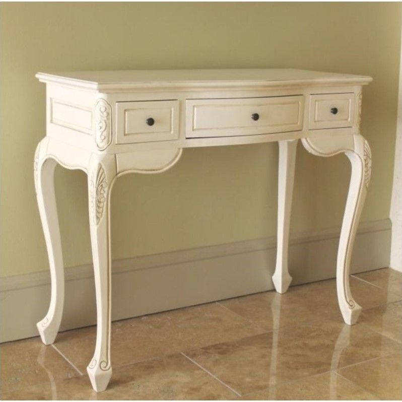 Antique White Hand Carved Vanity Desk - Antique White Hand Carved Vanity Desk Vanity Desk, Hand Carved And