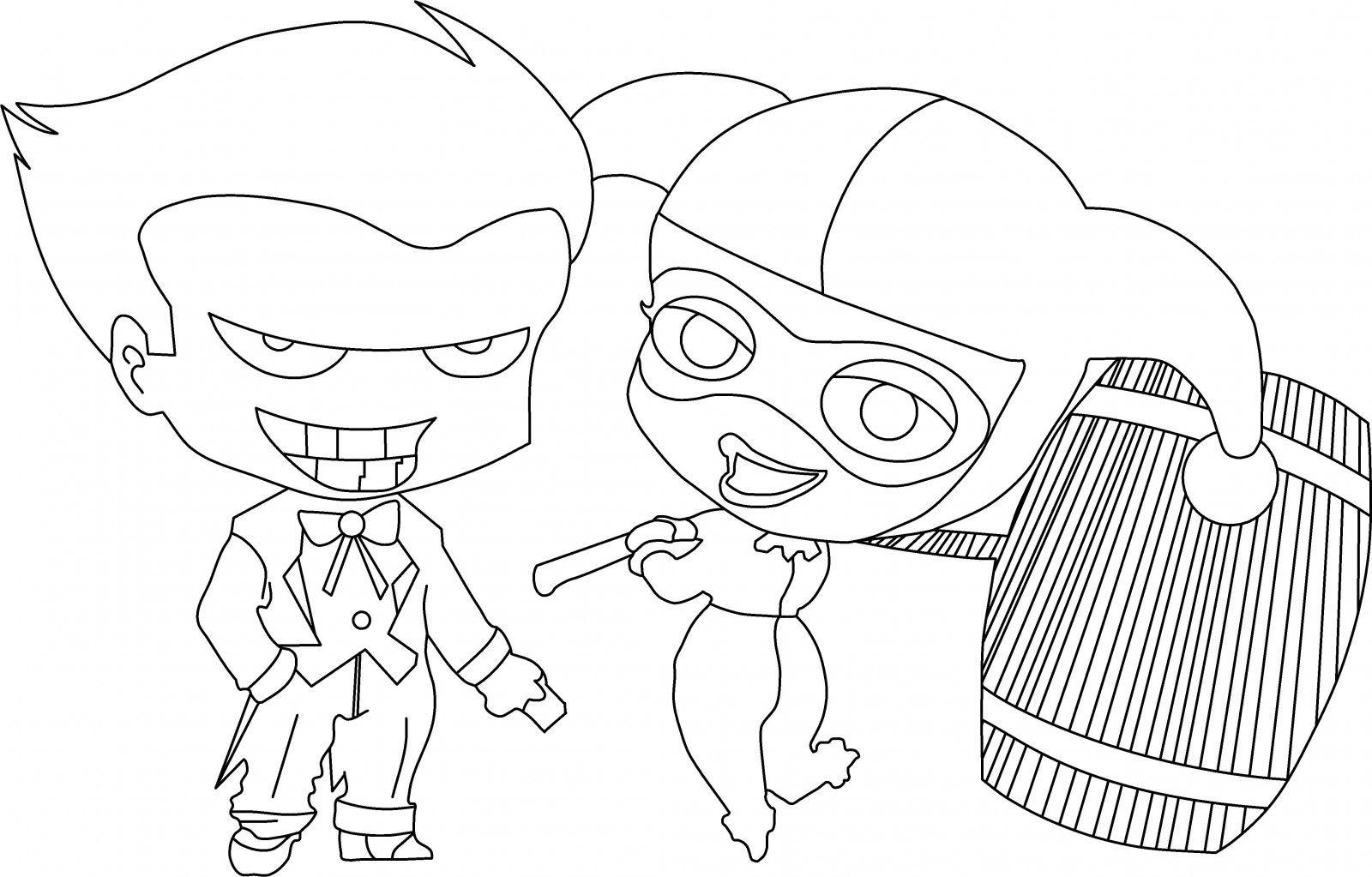 Harley Quinn Kawaii Para Colorear: Dibujos Kawaii De Harley Quinn Para Colorear