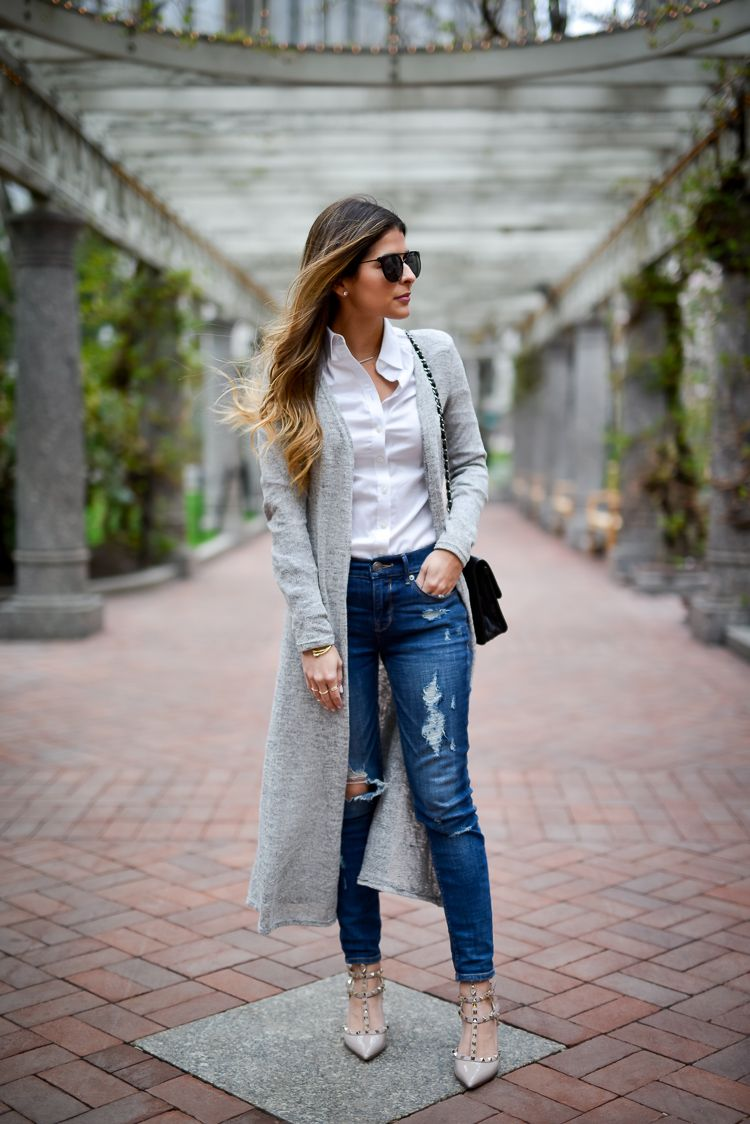 Simple & Easy Look for Spring | Panama, Ripped denim and Long cardigan
