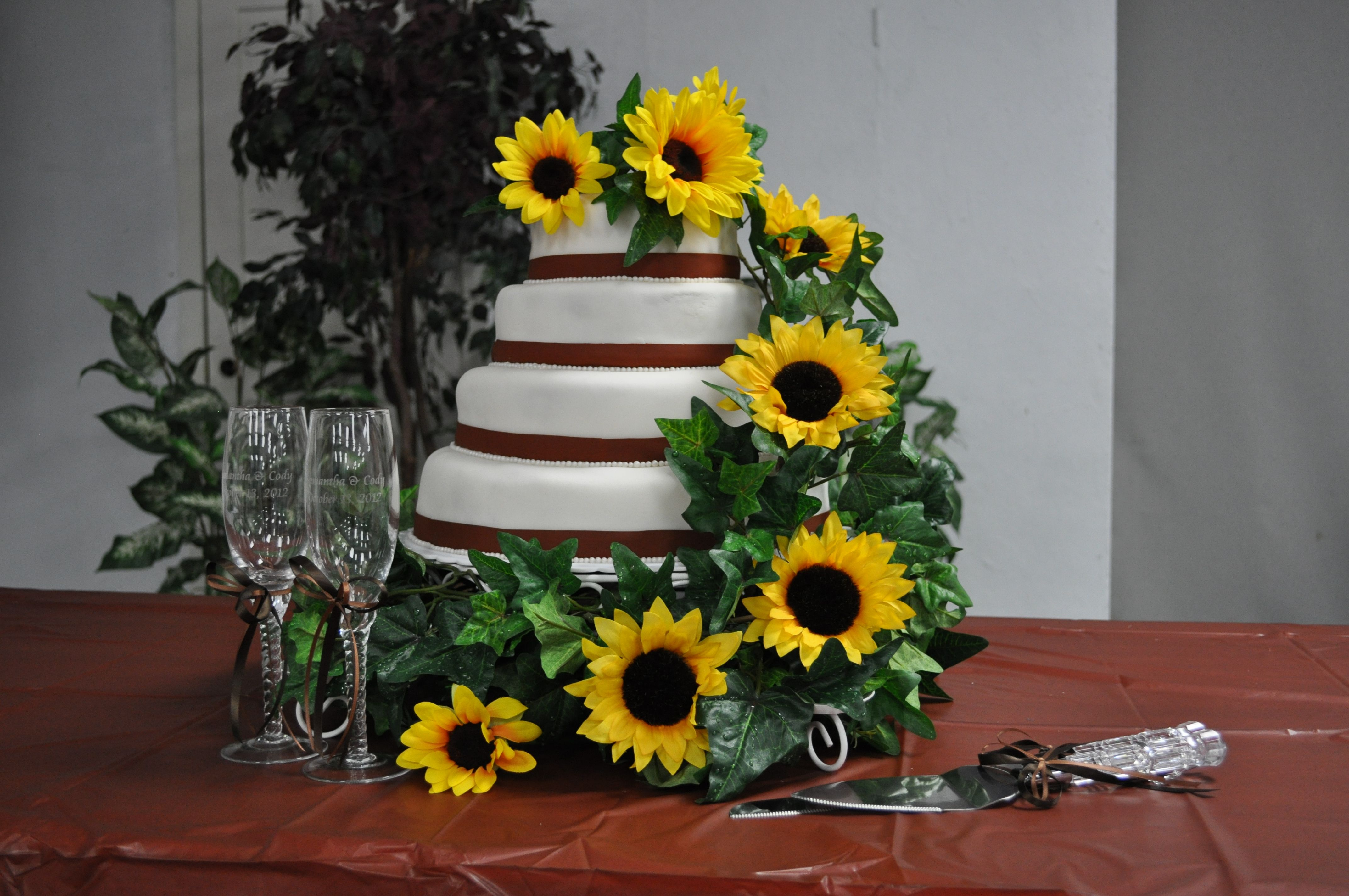 sunflower wedding cake Sunflower wedding