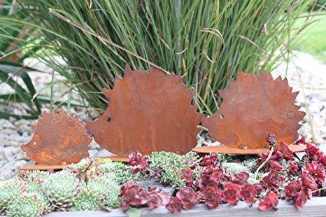 Amazon.de: Rostikal Herbstdeko Igel Familie 3er Set, Edelrost Metall, Garten  Und