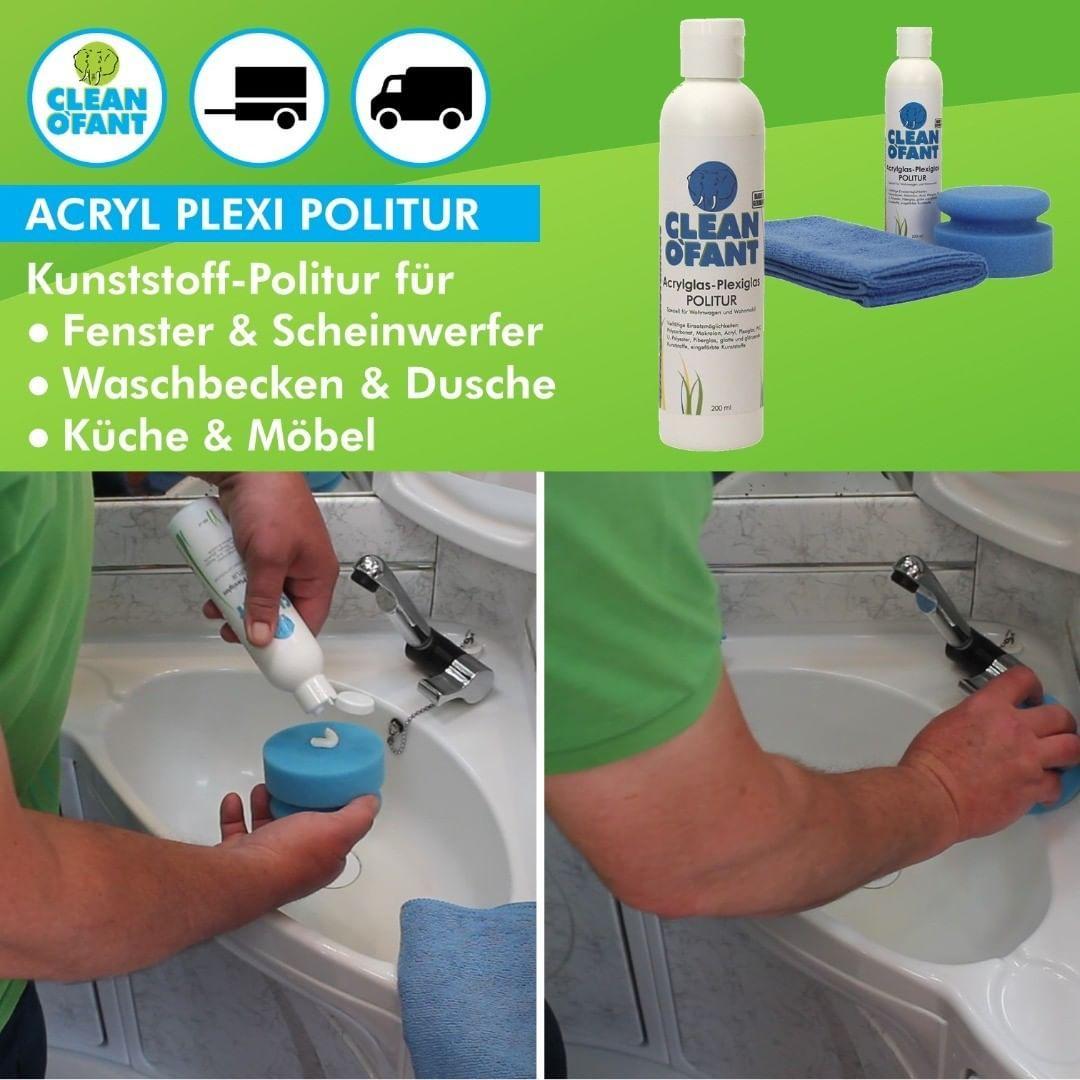 Anwendung Cleanofant Acrylglas Plexiglas Politur An Einem