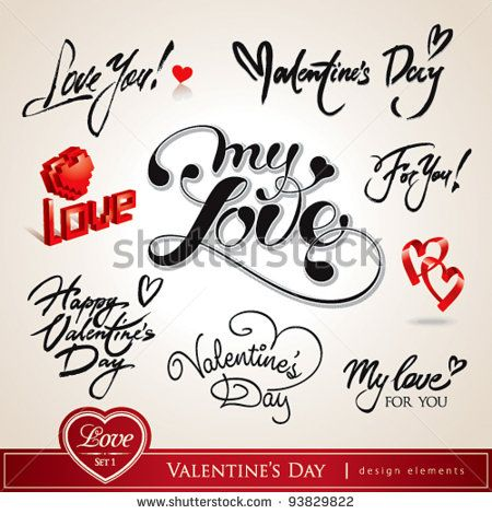 Valentine's Day. Set of Valentine's calligraphic headlines with hearts. Vector illustration.