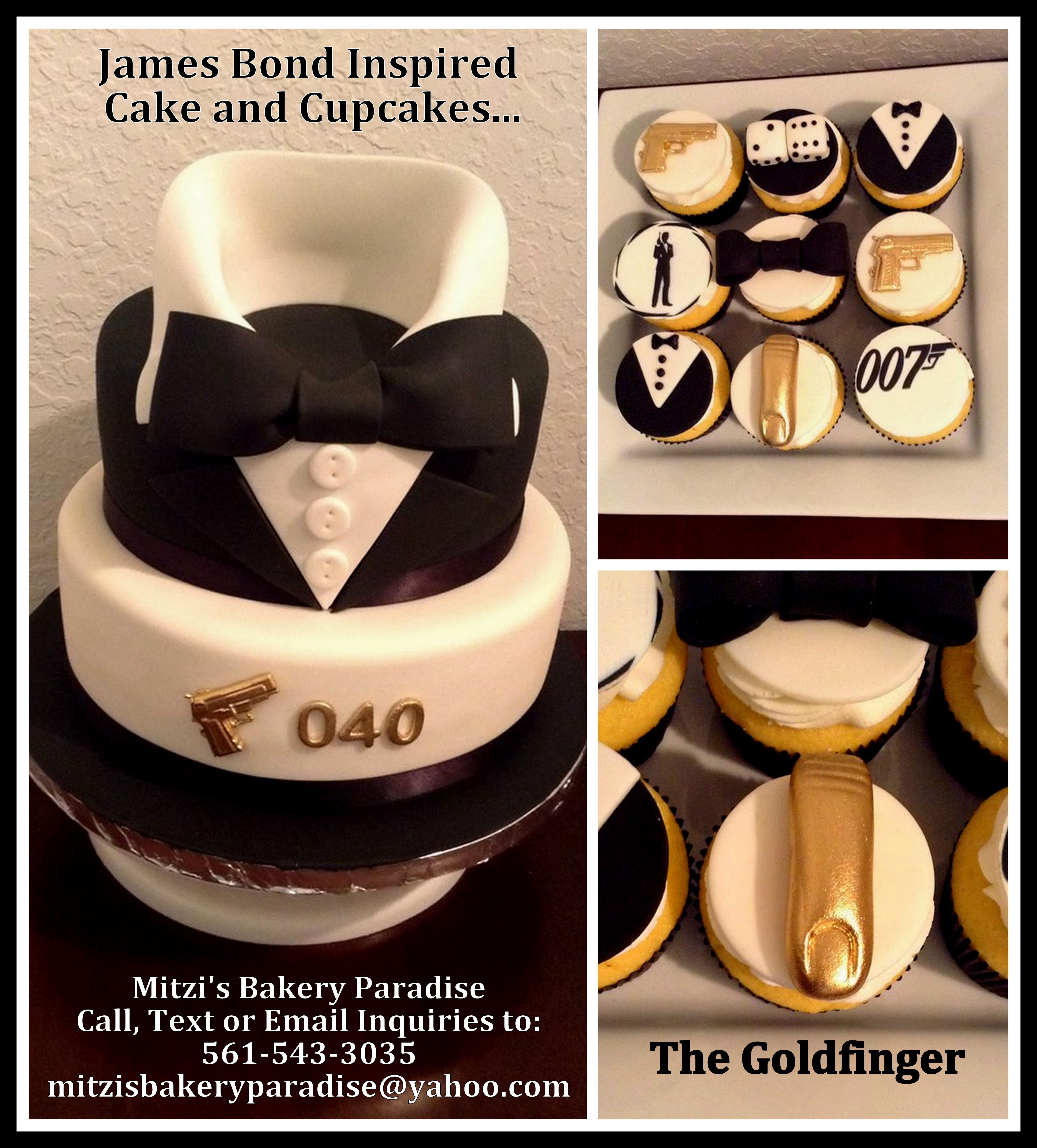 James Bond Inspired Cake and Cupcakes...