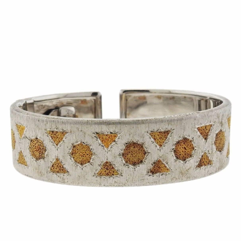 Buccellati k gold and sterling silver cuff bracelet designer