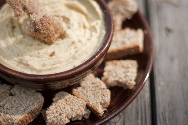 Summer was here today in the form of roasted garlic hummus. :)
