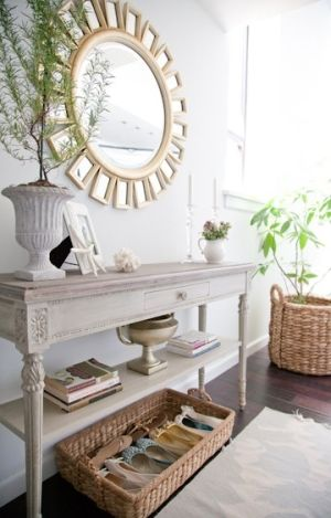 Shoe Basket Under Console Table Decor Home Decor Modern Coastal Decor