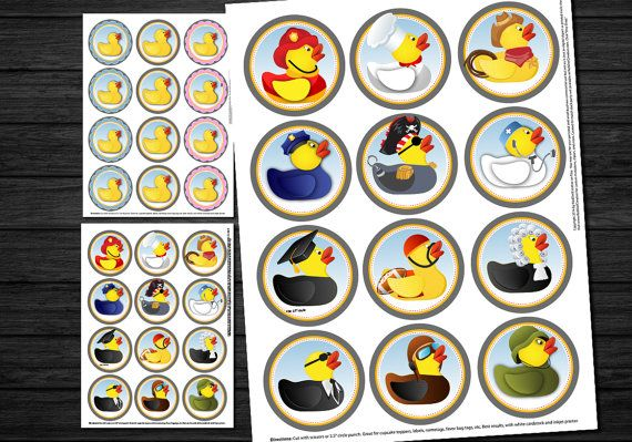 Rubber Ducky Printable Cupcake Toppers, Circles, Digital Clipart Scrapbook Sheet