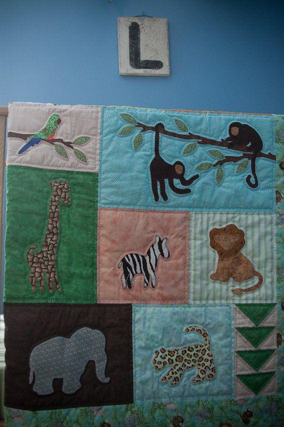 Jungle babies Panel Cotton Fabric Elephant Lion Hippo Giraffe Quilt Top