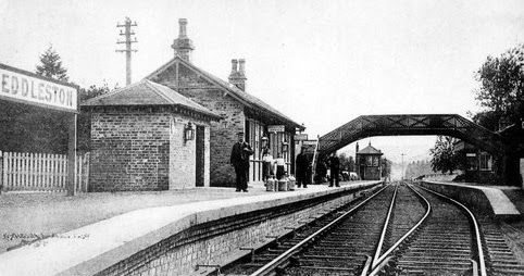 Old photograph of the train station at Eddleston located four miles North of Peebles in the Borders of Scotland . This station on the Edinbu...