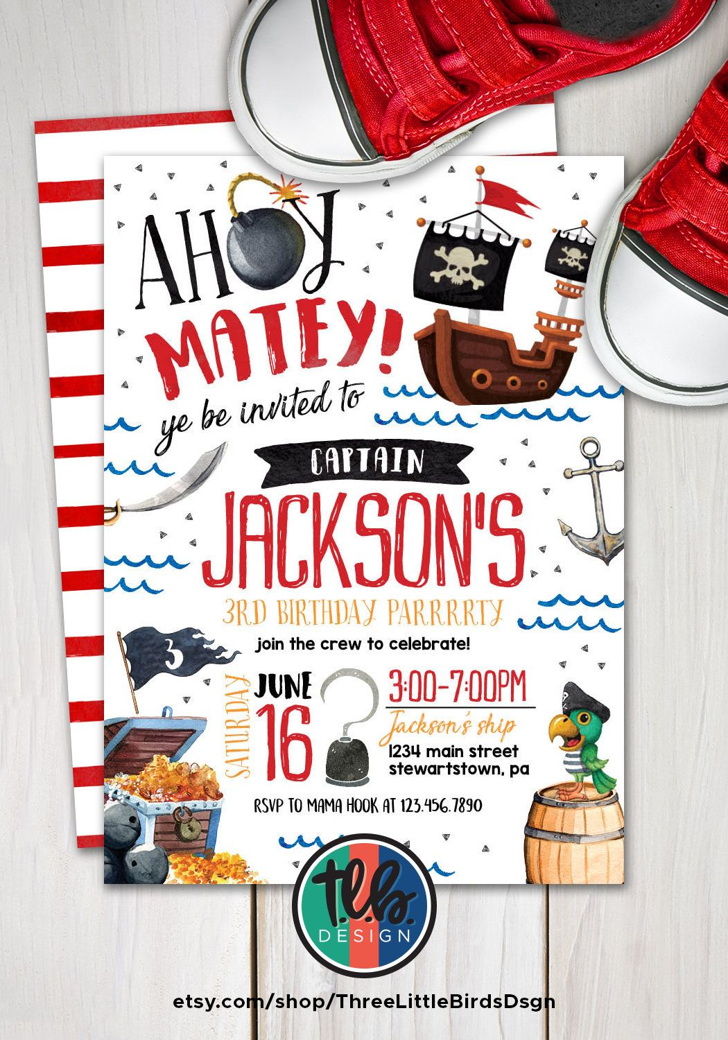 Pirate Birthday Invitation Pirate Invite Pirate Party Pirate Ship ...