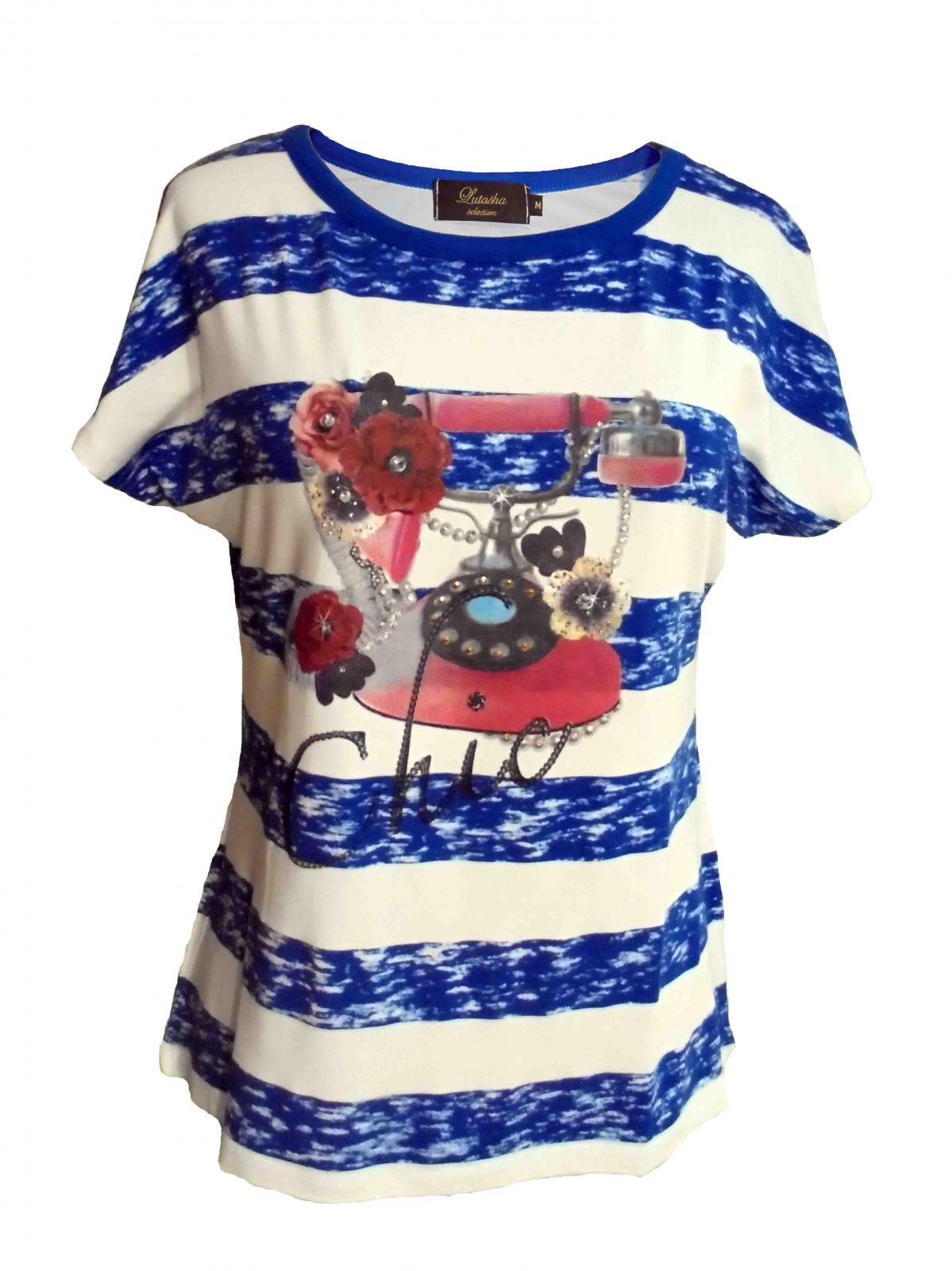 CaídoRayas Horizontales Camiseta MujerManga Hombro Estampada De 3c45SARLjq