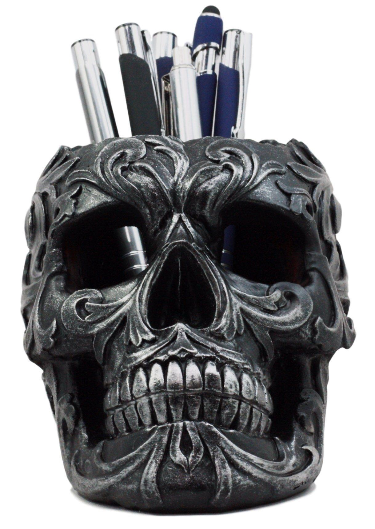 Ebros tribal tattoo floral skull pen holder figurine 575l