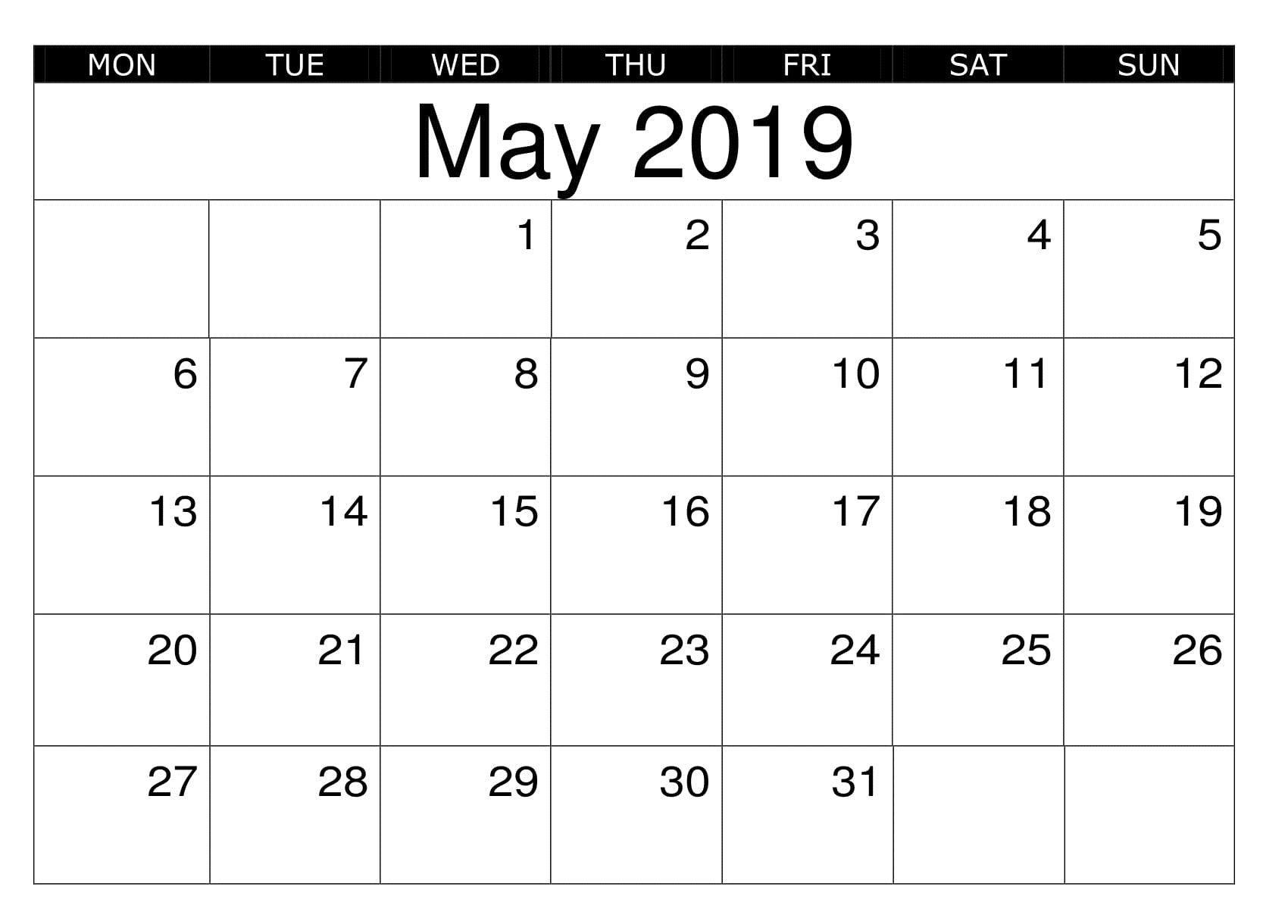 Blank May 2019 Calendar Printable Reminders Calendar Printables