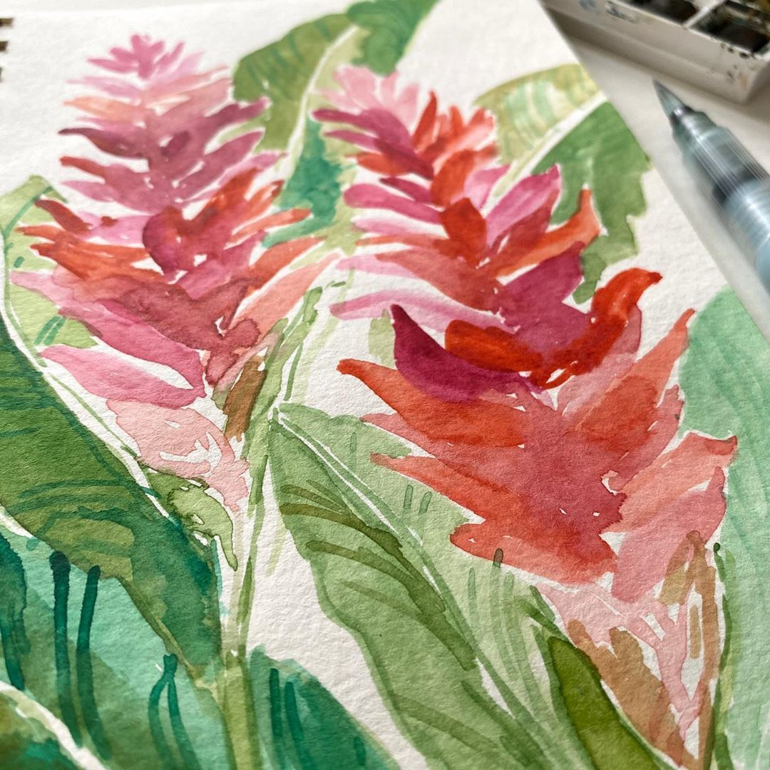 Two Red Ginger Floral Watercolor In 2020 Floral Watercolor Paintings Flower Painting Botanical Watercolor