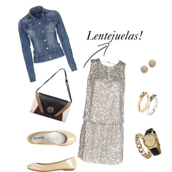 Look casual con vestido de lentejuelas, denim y flats... by blogabrilmoda, via Polyvore