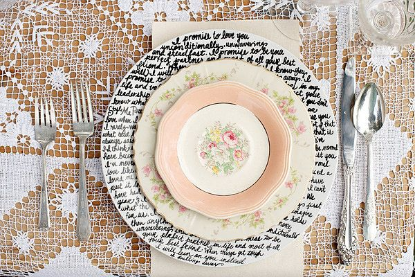 Handwritten plates! | Easy DIY Tricks to Spice Up Your Wedding