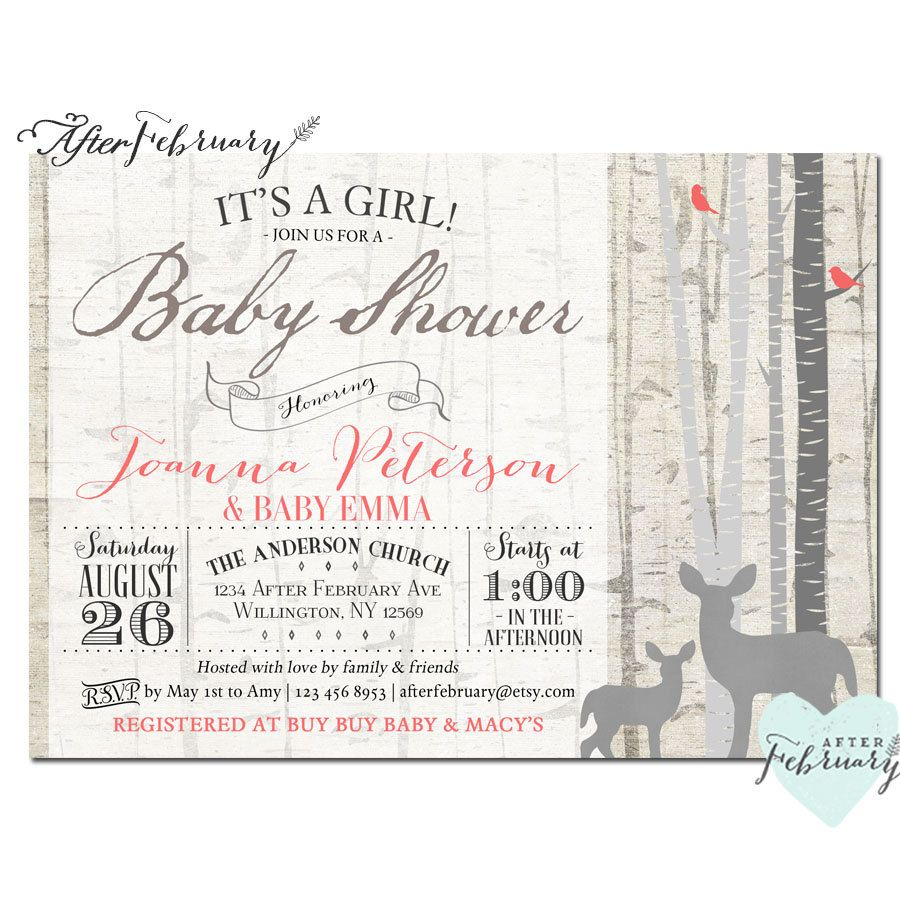Woodland Baby Shower Invitation Baby Girl Shower Deer Shower Invites ...